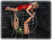 Free bondage photo Amy Hunter and Ariel Anderssen rope bondage, girlgirl, barefoot, satin, blonde, cage, pencil skirt, ungagged, pvc