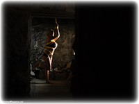 Free bondage photo Katie Thornton rope bondage, barefoot, blonde, lingerie, crotch rope, dungeon, ungagged