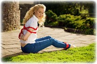 Free bondage photo Ariel Anderssen rope bondage, barefoot, blonde, blouse, jeans, denim, outdoor, ungagged
