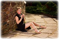 Free bondage photo Penny Lee ballgag, ballgown, barefoot, handcuffs, blonde, leg irons, metal bondage, outdoor, dress
