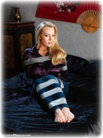 Free bondage photo Hannah Claydon barefoot, satin, blonde, blouse, bondage tape, silk, jeans, melodrama, tape gag, denim, ungagged