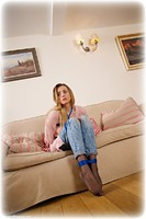 Free bondage photo Ayla Rose rope bondage, blonde, shoes, humiliation, jeans, lingerie, sweater, denim, pantyhose, ungagged