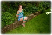 Free bondage photo Rachel Adams rope bondage, barefoot, brunette, tape gag, outdoor, dress