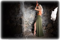 Free bondage photo Hannah Clare barefoot, blonde, dress, dungeon, ungagged, rope bondage