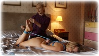 Free bondage photo Penny Lee and Ariel Anderssen rope bondage, girlgirl, barefoot, bedroom, blonde, hogtie, nude, documentary, ungagged