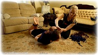 Free bondage photo Rachel Adams and Ariel Anderssen ballgag, barefoot, hogtie, brunette, documentary, dress, reverse prayer, rope bondage