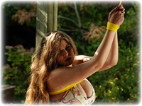 Free bondage photo Alais Peach rope bondage, barefoot, bit gag, brunette, outdoor, dress, ungagged