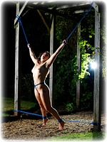Free bondage photo Amy Hunter rope bondage, barefoot, humiliation, lingerie, clothes cut off, nude, outdoor, crotch rope, dress, ungagged