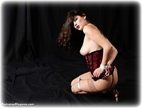 Free bondage photo Angelina rope bondage, shoes, stockings, topless