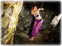 Free bondage photo Aria Wednesday ballgag, rope bondage, barefoot, harem, brunette, strappado, ungagged, dungeon