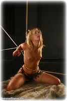Free bondage photo Ariel Anderssen and Chanta Rose rope bondage, barefoot, strappado, crotch rope