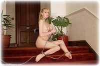 Free bondage photo Ariel Anderssen barefoot, handcuffs, blonde, sm factory, leg irons, chains, metal bondage, collar, ungagged