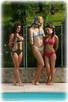 Free bondage photo Ariel Anderssen, Sabrina and Hannah girlgirl, barefoot, rope bondage, humiliation, lingerie, cloth gag, outdoor