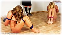 Free bondage photo Missey, Ariel Anderssen and Chanta Rose rope bondage, girlgirl, barefoot, slave training, lesbian, nude, crotch rope, ungagged, mockumentary, comedy