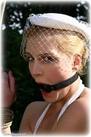 Free bondage photo Ariel Anderssen ring gag, rope bondage, barefoot, outdoor