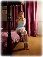 Free bondage photo Ariel Anderssen ballgag, rope bondage, barefoot, bedroom, blonde, nipple clamps, dress, topless, ungagged