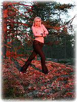 Free bondage photo Ariel Anderssen rope bondage, barefoot, outdoor, topless