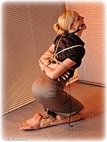 Free bondage photo Ariel Anderssen rope bondage, barefoot, satin, bit gag, blouse, shoes, silk