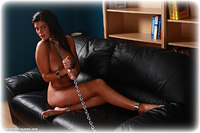 Free bondage photo Ashley W barefoot, shackles, leg irons, chains, metal bondage, collar, nude