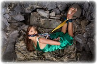 Free bondage photo Becky Perry ballgown, barefoot, satin, scarf bondage, blindfold, hogtie, silk, brunette, cloth gag, dress, dungeon, ungagged