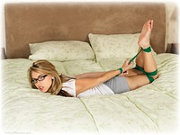 Free bondage photo Chloe T glasses, barefoot, bedroom, blonde, hogtie, shorts, bondage tape, tape gag, ungagged
