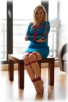 Free bondage photo Bad Dolly rope bondage, barefoot, blonde, dress, ungagged
