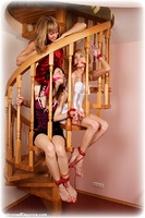 Free bondage photo Juliana, Delta and Dolly barefoot, satin, blonde, brunette, lesbian, lingerie, cloth gag, ungagged, rope bondage