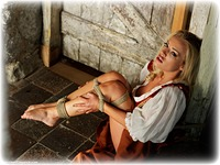 Free bondage photo Hannah Claydon rope bondage, barefoot, blonde, humiliation, medieval, dress, topless, ungagged, dungeon