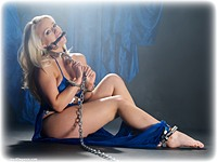 Free bondage photo Hannah Claydon barefoot, handcuffs, bit gag, harem, leg irons, chains, metal bondage, collar