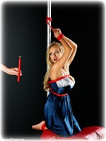 Free bondage photo Hannah Claydon and Ariel Anderssen ballgag, rope bondage, ballgown, girlgirl, barefoot, bastinado, satin, blonde, bondage pole, hot wax, silk, lesbian, lingerie, clothes cut off, corporal punishment, dress, topless, ungagged, riding crop, electroshock, foot torture