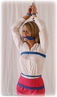 Free bondage photo Jasmine Sinclair rope bondage, barefoot, blouse, humiliation, cloth gag, clothes cut off, nude, topless