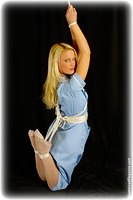 Free bondage photo Jasmine Sinclair rope bondage, stockings, suspension, uniform