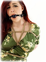 Free bondage photo Jaye Rose ballgag, rope bondage, barefoot, satin, blouse, silk, lingerie, topless, ungagged