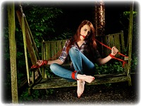 Free bondage photo Jenny Smith ballgag, barefoot, blouse, jeans, outdoor, denim, redhead, rope bondage