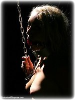 Free bondage photo Marianne ballgag, barefoot, chains, collar, handcuffs, metal bondage, nude, topless