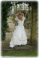 Free bondage photo Jessie ballgown, cloth gag, handcuffs, outdoor, satin, silk