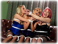 Free bondage photo Natalia Forrest, Katy Cee and Temptress Kate rope bondage, girlgirl, satin, blonde, brunette, lesbian, lingerie, stockings, corset, topless, ungagged, redhead