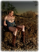 Free bondage photo Katy Cee humiliation, boots, jeans, slave training, outdoor, crotch rope, topless, ungagged, rope bondage