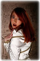 Free bondage photo Kendra James rope bondage, satin, blouse, shoes, silk, stockings