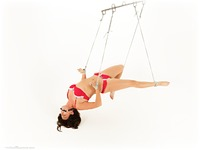 Free bondage photo Kobe Lee rope bondage, barefoot, bit gag, lingerie, suspension