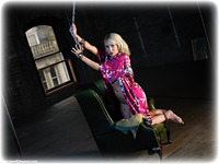 Free bondage photo Millie Fenton barefoot, gown, satin, handcuffs, blonde, silk, leg irons, chains, metal bondage, nightwear, nude, drama, topless, ungagged