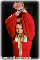 Free bondage photo Missey hogtie, shackles, leg irons, chains, cloth gag, medieval, stockings, metal bondage, riding crop