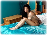 Free bondage photo Monica Harris barefoot, bedroom, hogtie, nude, crotch rope, ungagged, rope bondage