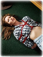Free bondage photo Nicky Phillips rope bondage, barefoot, blouse, hogtie, shorts, brunette, denim, ungagged