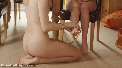 Bondage photo pic picture Penny Lee and Ariel Anderssen girlgirl, barefoot, handcuffs, blonde, shackles, brunette, sm factory, leg irons, chains, collar, nude, nude in metal, thumbcuffs