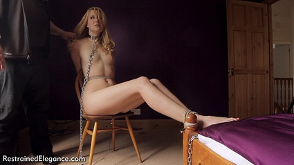 Bondage photo pic picture Ariel Anderssen rope bondage, barefoot, bedroom, blonde, humiliation, chains, collar, nude, electroshock, ungagged