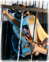 Free bondage photo Alexandra and Petra Morgan girlgirl, handcuffs, shoes, cage, pvc