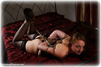 Free bondage photo Pling rope bondage, hogtie, lingerie, stockings