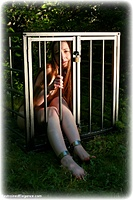 Free bondage photo Pling barefoot, shackles, cane, leg irons, slave training, metal bondage, collar, nude, outdoor