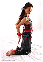 Free bondage photo Roxanne barefoot, shoes, pvc